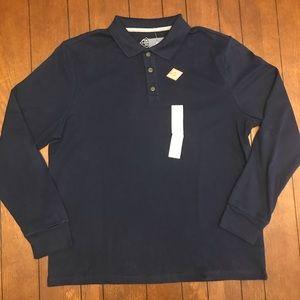 St. John's Bay Navy Blue Long Sleeve Polo Shirt